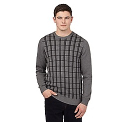 Ben Sherman - Big and tall grey window pane print knitted jumper