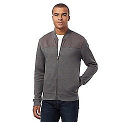 BEN SHERMAN - Big and tall grey baseball sweat jacket