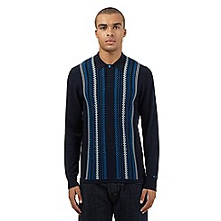 Ben Sherman - Navy knitted checked long sleeved polo jumper