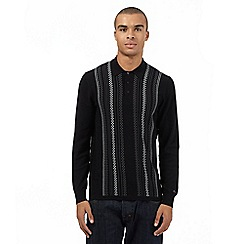 Ben Sherman - Big and tall black knitted checked long sleeved polo jumper