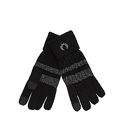 Fred Perry - Black wool blend touch screen gloves
