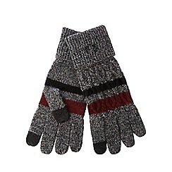 Fred Perry - Grey cable knit touch screen gloves