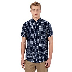 BEN SHERMAN - Big and tall navy paisley short sleeved shirt