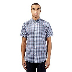 BEN SHERMAN - Big and tall blue checked short sleeved shirt