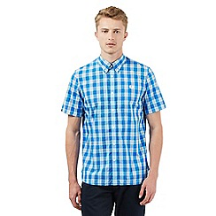 Fred Perry - Big and tall blue checked print shirt
