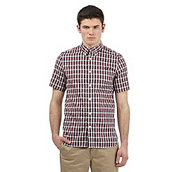 Fred Perry - Red gingham print logo shirt