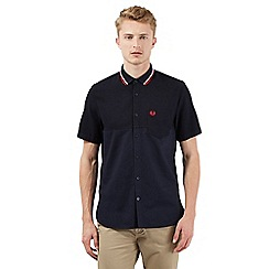 Fred Perry - Big and tall navy diamond textured short sleeved shirt