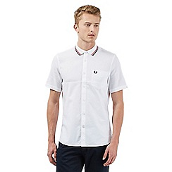 Fred Perry - Big and tall white diamond textured short sleeved shirt