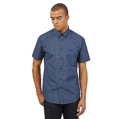 BEN SHERMAN - Big and tall navy diamond tile print shirt