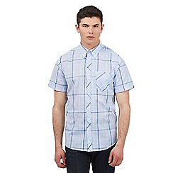 BEN SHERMAN - Big and tall blue large grind print short sleeve shirt