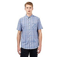 BEN SHERMAN - Big and tall blue checked print shirt