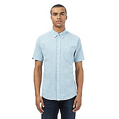 BEN SHERMAN - Big and tall light blue linen short sleeved shirt