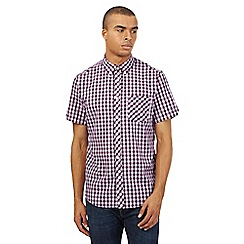 Ben Sherman - Dark pink checked print short sleeved shirt