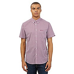 BEN SHERMAN - Big and tall purple gingham print short sleeved shirt