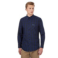 BEN SHERMAN - Dark blue checked long sleeved shirt
