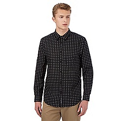 Ben Sherman - Big and tall black square pattern long sleeved shirt