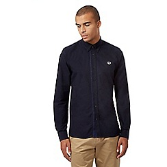 Fred Perry - Navy gingham trim Oxford shirt