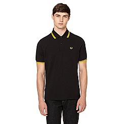 Fred Perry - Black tipped pure cotton regular fit polo shirt