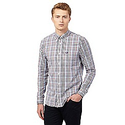 Fred Perry - White gingham regular fit long sleeved shirt