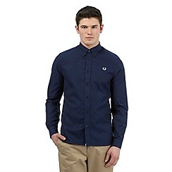 Fred Perry - Navy twill long sleeved shirt