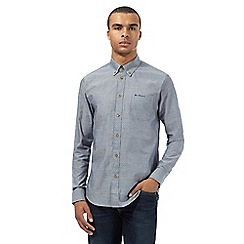 BEN SHERMAN - Big and tall grey pin dot long sleeved shirt