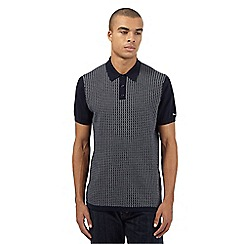 BEN SHERMAN - Navy knitted geometric print polo shirt