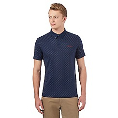 BEN SHERMAN - Navy dotted polo shirt