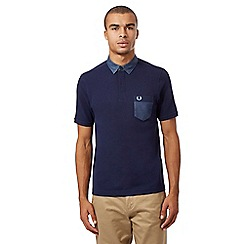Fred Perry - Blue chambray slim fit polo shirt