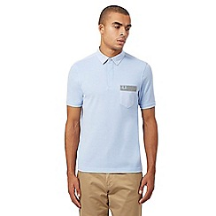 Fred Perry - Light blue gingham pocket trim polo shirt