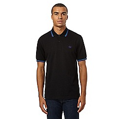 Fred Perry - Black twin tipped embroidered logo polo shirt