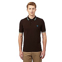 Fred Perry - Dark brown twin tipped slim fit polo shirt