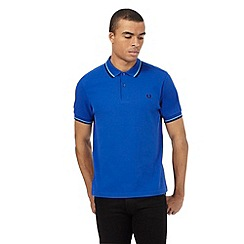 Fred Perry - Big and tall bright blue texture polo shirt