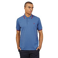 Fred Perry - Mid blue twin tipped slim fit polo shirt