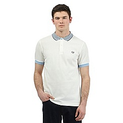 Fred Perry - Big and tall white striped collar polo shirt