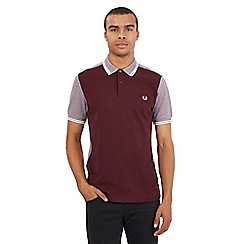 Fred Perry - Dark red colour block polo shirt