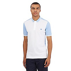 Fred Perry - Big and tall white colour block polo shirt
