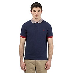 Fred Perry - Big and tall navy twin tipped slim fit polo shirt