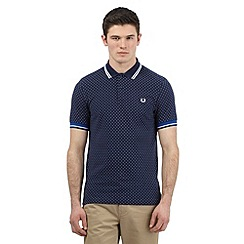 Fred Perry - Big and tall blue polka dot print polo shirt