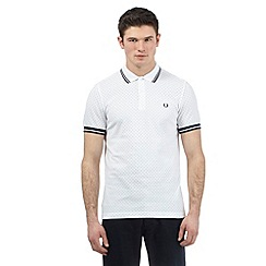 Fred Perry - White polka dot print polo shirt