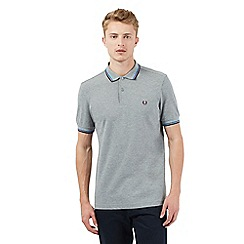 Fred Perry - Grey logo stitched slim fit polo shirt