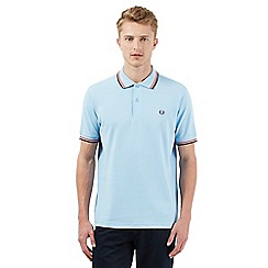 Fred Perry - Big and tall light blue stitched logo polo shirt
