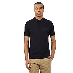 Fred Perry - Big and tall navy logo slim fit polo shirt