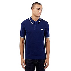 Fred Perry - Big and tall navy knitted polo shirt