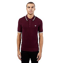 Fred Perry - Maroon tipped knitted polo shirt