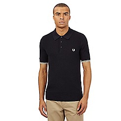 Fred Perry - Navy textured criss cross polo shirt