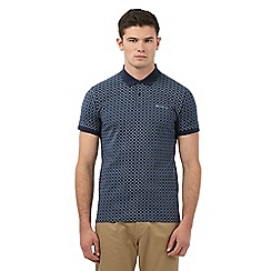 Ben Sherman - Big and tall navy all-over diamond print polo shirt