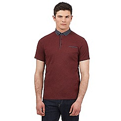 BEN SHERMAN - Red polka dot trim polo shirt