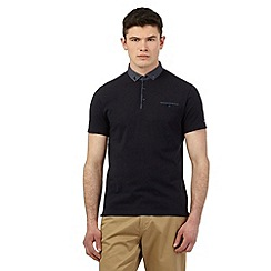 BEN SHERMAN - Navy polka dot print collar polo shirt
