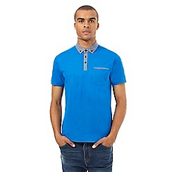 BEN SHERMAN - Blue chambray collar polo shirt