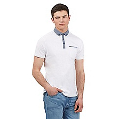 Ben Sherman - White chambray collar polo shirt